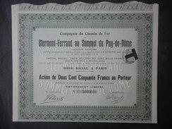 Chemins De Fer De CLERMONT FERRANT Au Sommet Du PUY De DOME - Chemin De Fer & Tramway