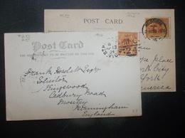 Victoria, Australia: 1904 & 1906 PPCs To England, Etc. (#SD11) - 1850-1912 Victoria