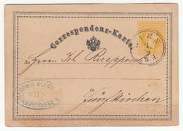 Austria Postal Stationery Postcard Correspondenz-Karte Travelled 1870 Wien To Funfkirchen B180525 - Entiers Postaux