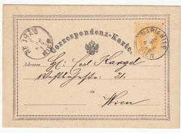 Austria Postal Stationery Postcard Correspondenz-Karte Travelled 1872 Wien B180525 - Ganzsachen