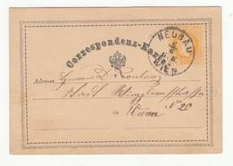 Austria Postal Stationery Postcard Correspondenz-Karte Travelled 1873 Neubau B180525 - Ganzsachen