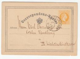 Austria Postal Stationery Postcard Correspondenz-Karte Travelled 1872 Margharethen B180525 - Ganzsachen