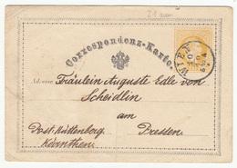 Austria Postal Stationery Postcard Correspondenz-Karte Travelled 1871 Wien B180525 - Ganzsachen