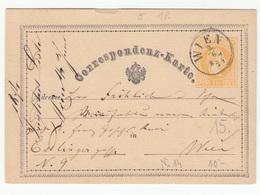 Austria Postal Stationery Postcard Correspondenz-Karte Travelled 1874 Wien B180525 - Ganzsachen