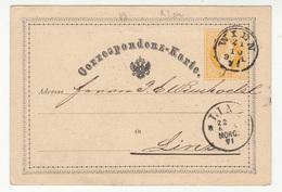 Austria Postal Stationery Postcard Correspondenz-Karte Travelled 1871 Wien To Linz B180525 - Ganzsachen