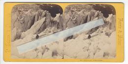TAIRRAZ CHAMONIX SUISSE ET SAVOIE Circa 1860 1865 LES CREVASSES  PHOTO STEREO /FREE SHIPPING REGISTERED - Photos Stéréoscopiques