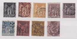 FRANCE YT N° 83/85/86/88/89/90/91/93/95     9 VALEURS - 1876-1898 Sage (Type II)