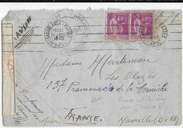 1940 - PAIX RAREMENT UTILISE AU MAROC Sur LETTRE Par AVION De CASABLANCA Avec CENSURE => MARSEILLE - Postmark Collection (Covers)