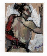 """Peinture Originale Signé """"J Van Moortel"""" J = Jacqueline 8x10 Cm - Gouaches"""