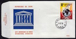 Ca0136 ZAIRE 1979, SG 975 50th Anniv Intl Bureau Of Education,  FDC - 1971-79: FDC