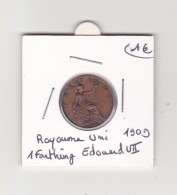 Royaume Uni 1909 1 Farthing Edouard VII - 1902-1971 : Monnaies Post-Victoriennes