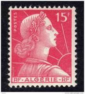 Algérie N° 329 + 335  XX Marianne De Muller 15 F. Rose Carminé Et 12 F. Cour Mauresque, Les 2 Vals  Sans Charnière, TB - Algérie (1924-1962)