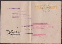 """DRESDEN ZKD-Brief B18IM(2) 1959 Ortsdoppel-Brief VEB Laborbau """"mit Einlieferungsschein"""", Bf Gefaltet, Aufbew.-St. - [6] République Démocratique"""