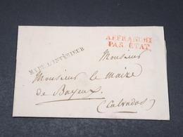 FRANCE - Lettre Du Ministère De L 'Intérieur Pour Bayeux - L 18000 - Marcophilie (Lettres)