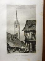 (Normandie) Lillebonne. Gravure Sur Acier De 1840. - Estampes & Gravures