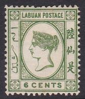 Malaysia-Labuan Scott 43 1894 Queen Victoria 6c Yellow Green, Mint No Gum - Malaysia (1964-...)