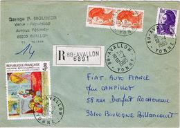 """France - (R) """"Coin De Salle à Manger Au Cannet - Pierre Bonnard"""" & """"Liberté"""" - Avallon Le 10 Avril 85 - Marcophilie (Lettres)"""