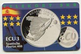 TK34034 DENMARK - Chip P291 Spain - Ricardo Zamora 600 Ex. MINT ! - Denmark
