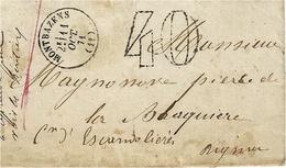 1871- Lettre De MONTBAZENS ( Aveyron )  Cad T16  TAXE Dt  40 C - 1849-1876: Classic Period