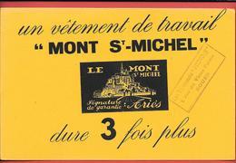 """Buvard Ancien Textile : MONT St MICHEL - VETEMENT DE TRAVAIL Signé ARIES - VETEMENTS """"PROUVOST"""" à ROUEN - Textilos & Vestidos"""
