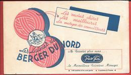"""Buvard Ancien Textile :  Laines BERGER DU NORD - VaRIANTE CARTOUCHE """"TRICO-FIX"""" Machine à Tricoter -tricoteur Ménager - Textilos & Vestidos"""