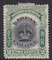 Malaysia-Labuan Scott 100 1902-03 Crown, 2c Green And Black, Mint No Gum - Malaysia (1964-...)