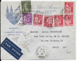 1936 - ENVELOPPE Par AIR BLEU De L'AEROCLUB De CLERMONT-FERRAND => PARIS - VOIR EGALEMENT DOS - Poststempel (Briefe)