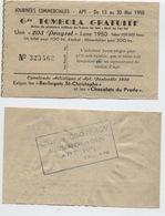 APT (Vaucluse) Tombola De La Cavalcade Artistique / Pentecôte 1950 - Billets De Loterie