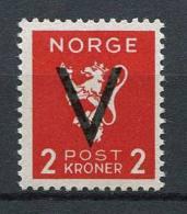 """Norwegen - Norway 1941   Mi. 255 ** MNH   Freimarken Mit Aufdruck """"V"""" - Ungebraucht"""