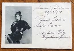 """PIETRALCUORE ANCONA  1901 DONNA """"TOSTA"""" CON SIGARETTA IN BOCCA...  CARTOLINA  D'EPOCA FOTO BIANCO E NERO - Fotografia"""