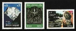 NEPAL 1984 TOURISM ART SCULPTURE TEMPLES MOUNTAINS SET MNH - Nepal