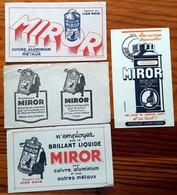 4 Buvards Anciens Différents - MIROR PRODUITS LION NOIR -illustr. E.COURCHINOUX -impr. MONT LOUIS CLERMONT FD & PHOTOLIT - Wash & Clean