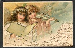 CPA - Illustration - Anges - Paillettes  (dos Non Divisé) - Angels