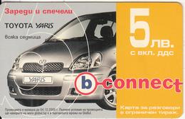 BULGARIA - Toyota Yaris, B Connect Prepaid Card 5 Leva, Exp.date 22/03/08, Used - Bulgaria