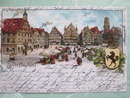 Stuttgart   . Der Markt 1899 - Stuttgart