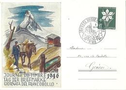 "Sonderkarte  ""Journée Suisse Du Timbre, Sion""  (Säumer Mit Matterhorn)         1946 - Cartas"