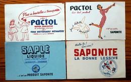 4 Buvards Anciens Différents -SAPONITE - PACTOL-SAPLE- Illustrateur GRUBER - Napoléon Et République En Médaillon - Wash & Clean