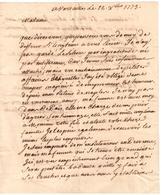 Versaille - Lettre De Dejanson,  Maitre D'Hôtel De Monsigneur Le Comte De Provence - Historische Documenten
