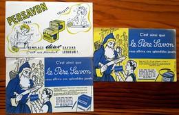 3 Buvards Anciens Différents -  PERSAVON - LE PERE SAVON -  Produit LESIEUR - Publicité Y ALEXANDRE - PARI S - Wash & Clean