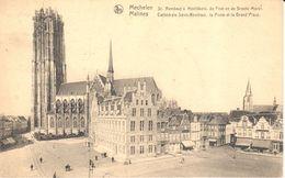 Malines - Mechelen - CPA - Cathédrale Saint-Rombeau, La Poste Et La Grand'Place - Mechelen