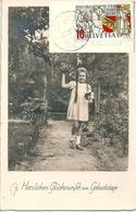 "AK  ""Glückwunsch Zum Geburtstag""  (Stempel  HAPPERSWIL)          1941 - Covers & Documents"