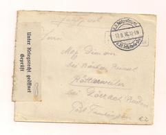 17.9.1916 - Feldpostbrief Ohne Inhalt 1.Weltkrieg - Nach Baden - Unter Kriegsrecht Geöffnet - Allemagne