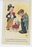 """ENFANTS - DOG - Jolie Carte Fantaisie Enfants Et Chien """"Je Vous Défends De Tutoyer Mon Chien """" Signée MICH - Dibujos De Niños"""