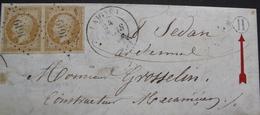 """R1593/32 - LETTRE (LAC) - NAP III (PAIRE) N°13Ab - LAIGNES PC1619 (Cote D'Or) Cachet De Facteur """" H """" > SEDAN (Ardennes) - 1853-1860 Napoléon III"""