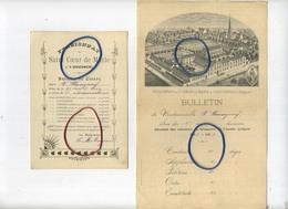 'S Gravenwezel :  Pensionnat : Saint Coeur De Marie  :  14 X 10 Cm :  Bulletin De Classe 1902 ( 2 Items ) 2 Scans - Belgique
