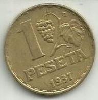 1 Peseta 1937 Espanha Republica - Republican Location