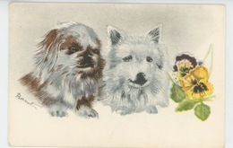 CHIENS - DOG - Jolie Carte Fantaisie Portrait Chiens Et Fleurs Signée BERNET - Hunde