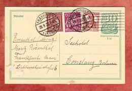 P 140 Postreiter + ZF, Frankfurt Nach Constanz 1922 (52145) - Entiers Postaux