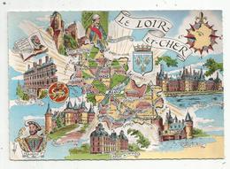 Cp , Carte Géographique , 41 , Souvenirs De France , LE LOIR ET CHER , Vierge ,ed. Gaby/Artaud - Cartes Géographiques