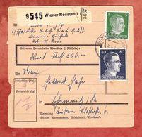 Paketkartenteil, MiF Hitler, Wiener Neustadt Nach Chemnitz 1943 (52149) - Briefe U. Dokumente